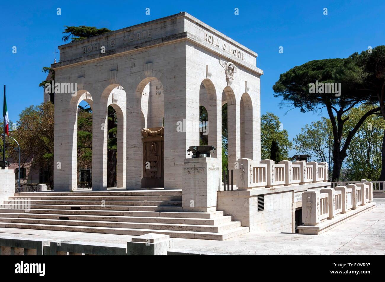 Denkmal für italienischen Patrioten, die während der Unabhängigkeitskriege gestorben Janiculum Area, Stockbild