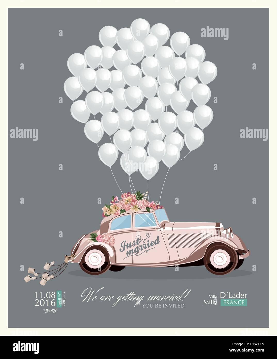Jahrgang Einladung Hochzeit Mit Just Married Retro Auto Und Weissen