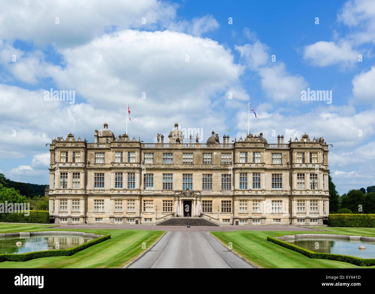 Longleat House, ein elisabethanisches Herrenhaus 16thC und Sitz der Marquess of Bath, in der Nähe von Warminster, Stockbild