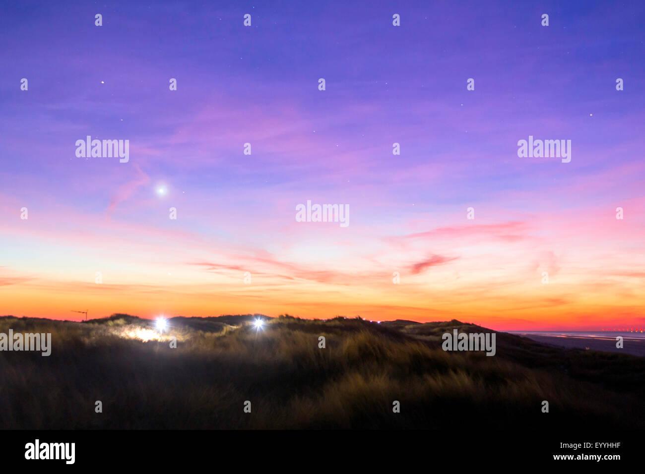 Planet Venus über Insel Juist, Deutschland, Niedersachsen, Juist Stockbild