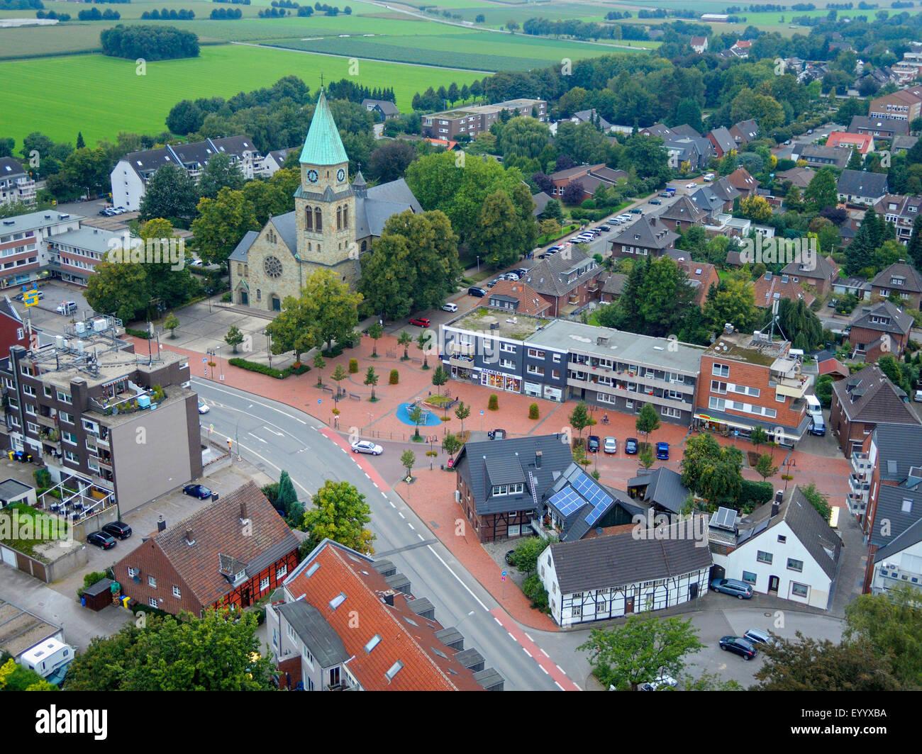 Luftbild Stadtteil Kirchhellen mit St Johannes Kirche