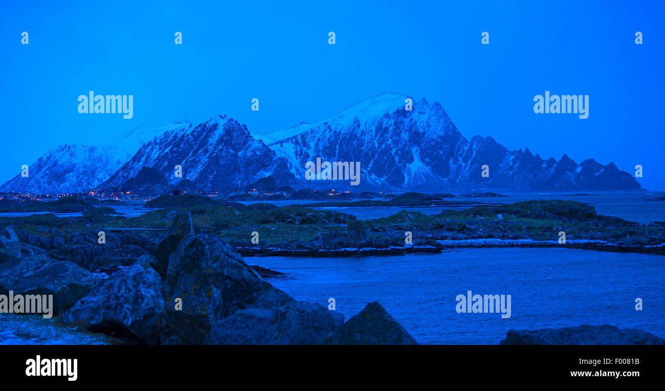 Polarnight um 15:00, Norwegen, Vester Len, Insel und ya, Andenes Stockbild