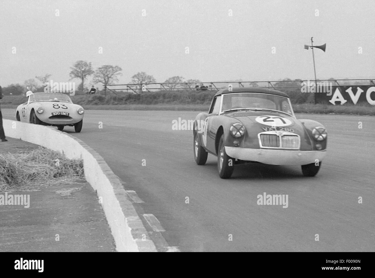 MGA Twin Cam Ecurie Chiltern. D.G. Dixon. Silverstone 9. Mai 1959 Stockbild