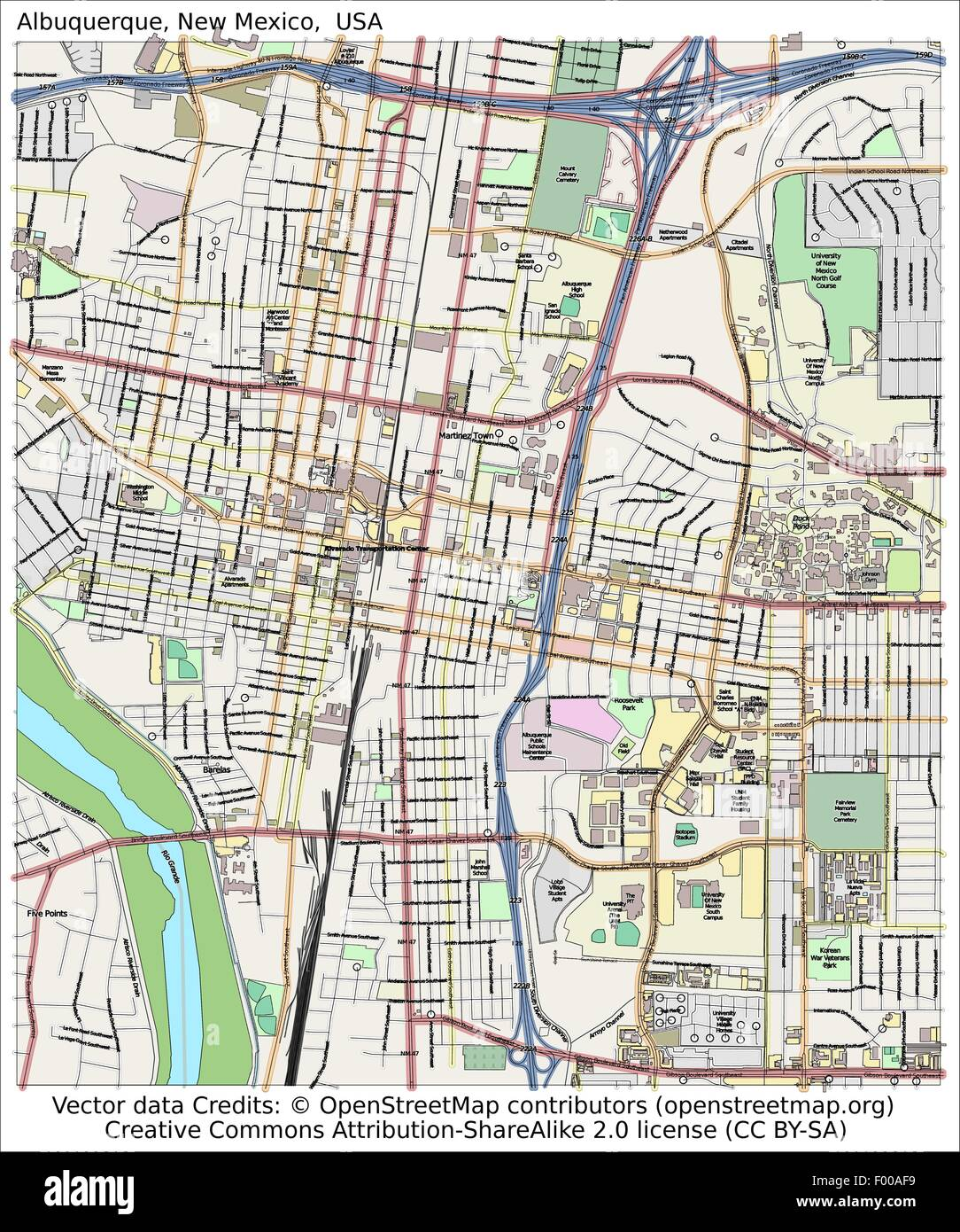 Albuquerque New Mexico USA Land Stadt Insel Staat Lageplan Vr ... on