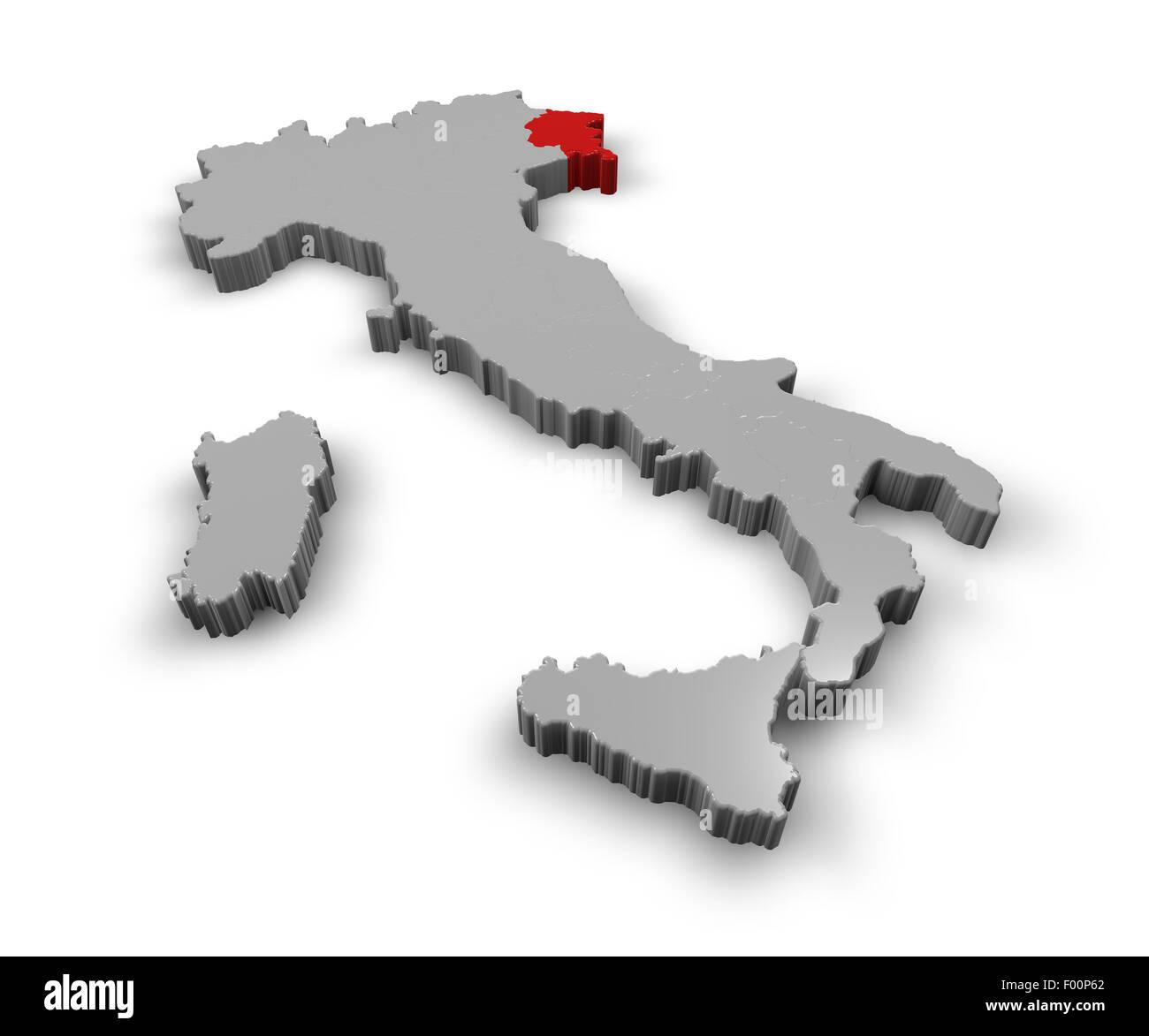 Karte Italien Regionen.3d Karte Von Italien Regionen Friaul Julisch Venetien Stockfoto