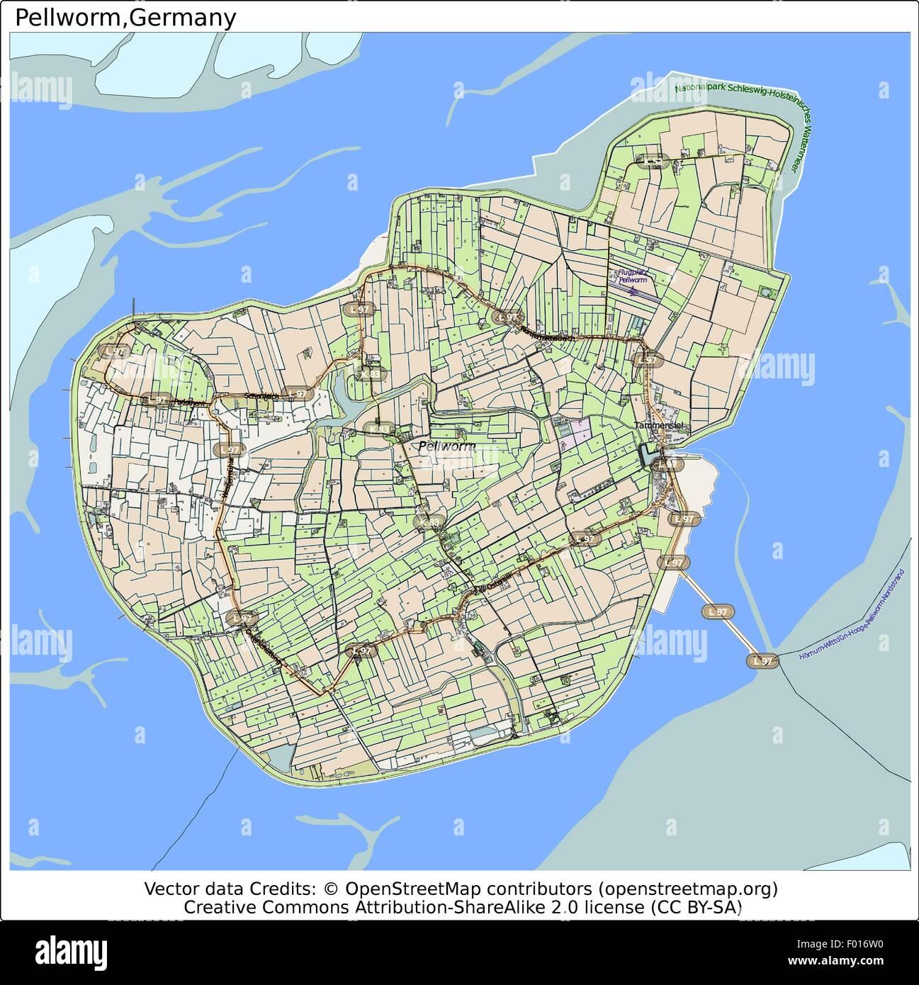 Pellworm Karte.Pellworm Insel Deutschland Stadt Karte Luftbild Vektor