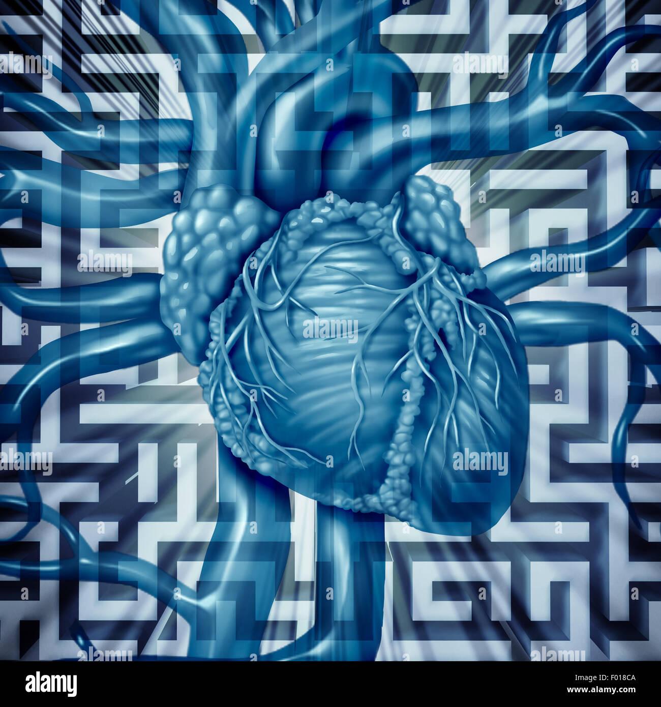 Herz Herausforderung menschlichen Herz-Kreislauf-Probleme Konzept auf einem Irrgarten oder Labyrinth als kardiale Stockbild