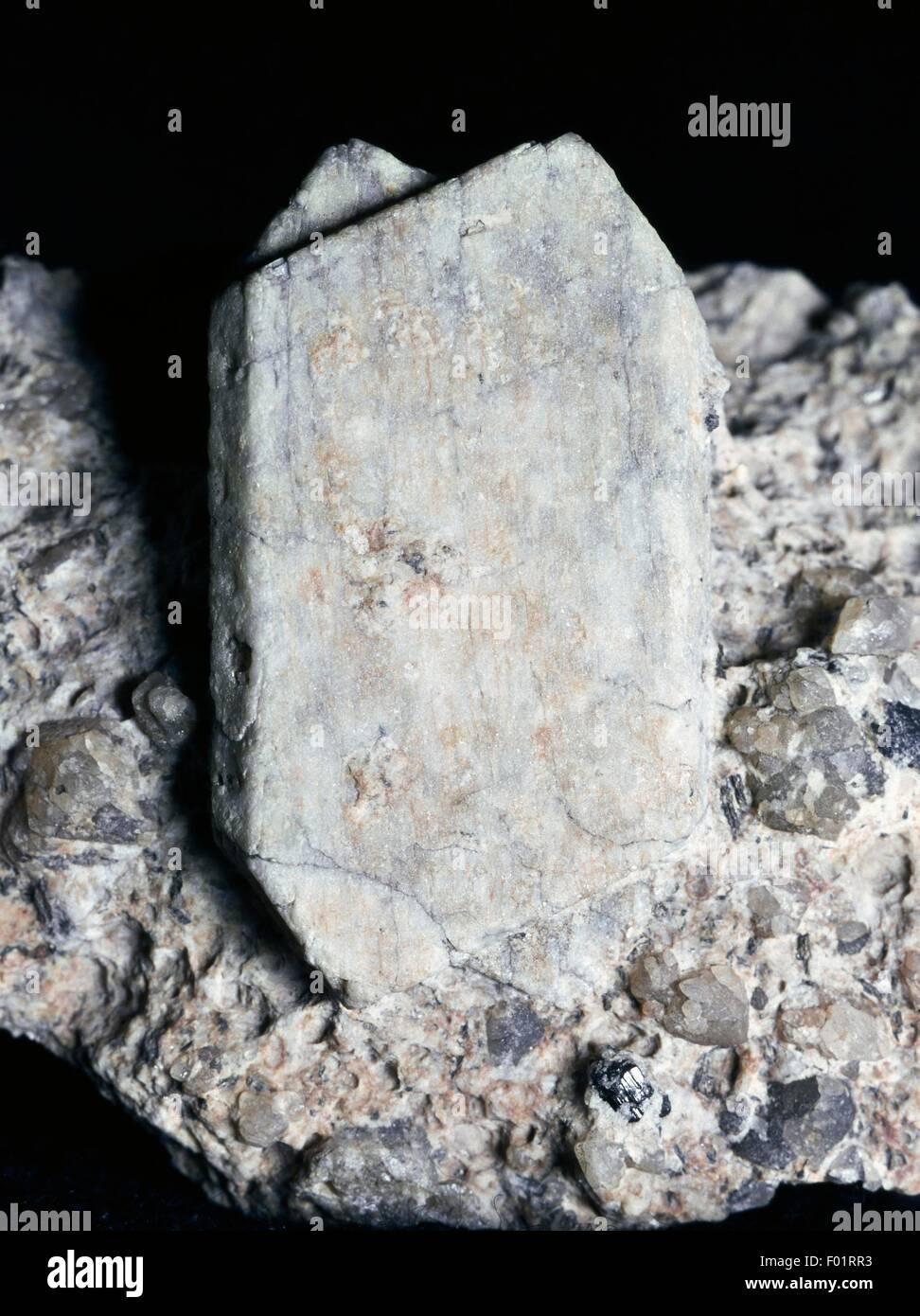 Vervielfältigungsstücke Sanidine unter der Herrschaft von Karlsbad, Silikat. Stockbild