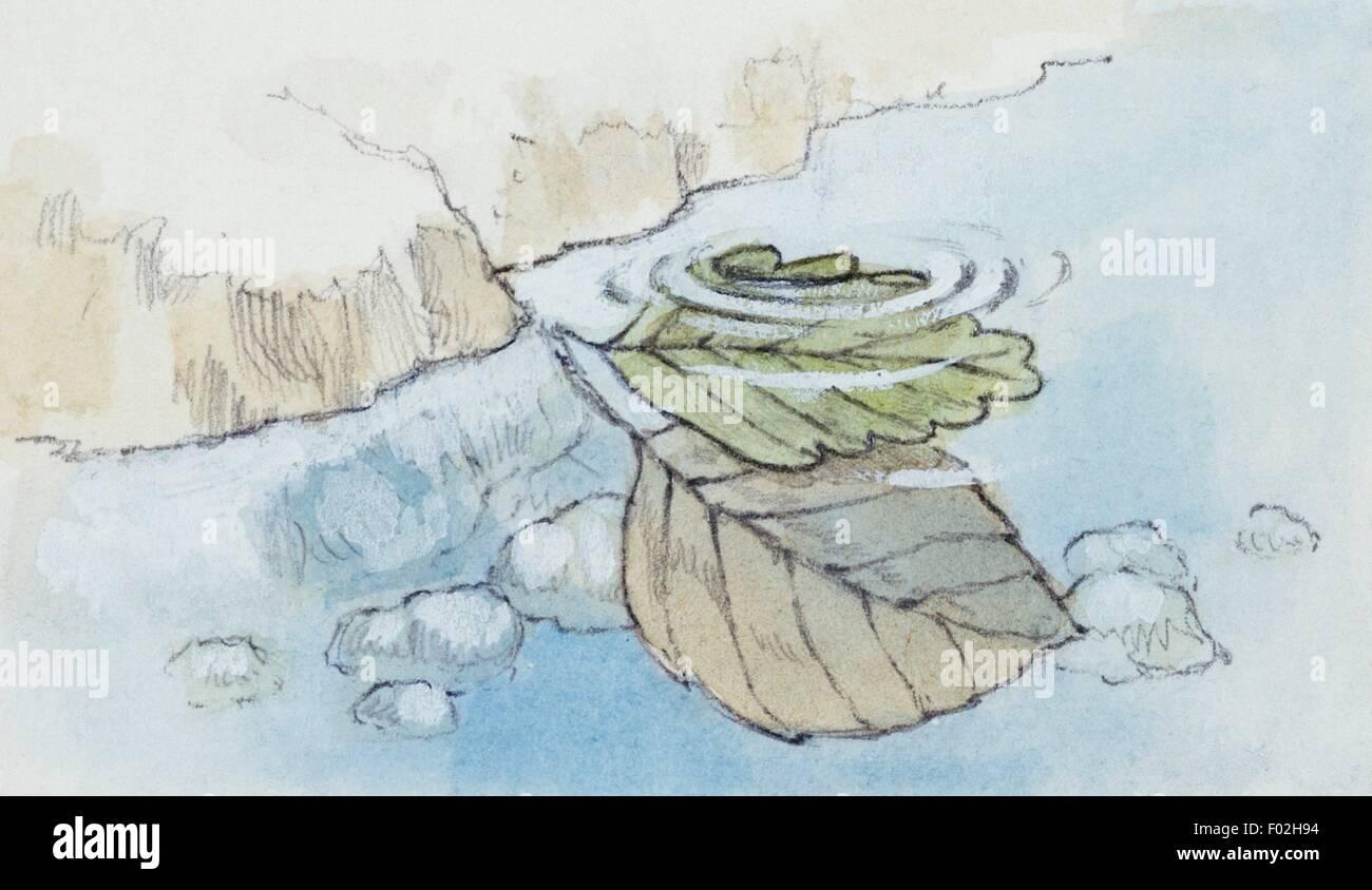 Rekonstruktion der Verkrustung der Pflanze bleibt in Travertin. Zeichnung. Stockbild
