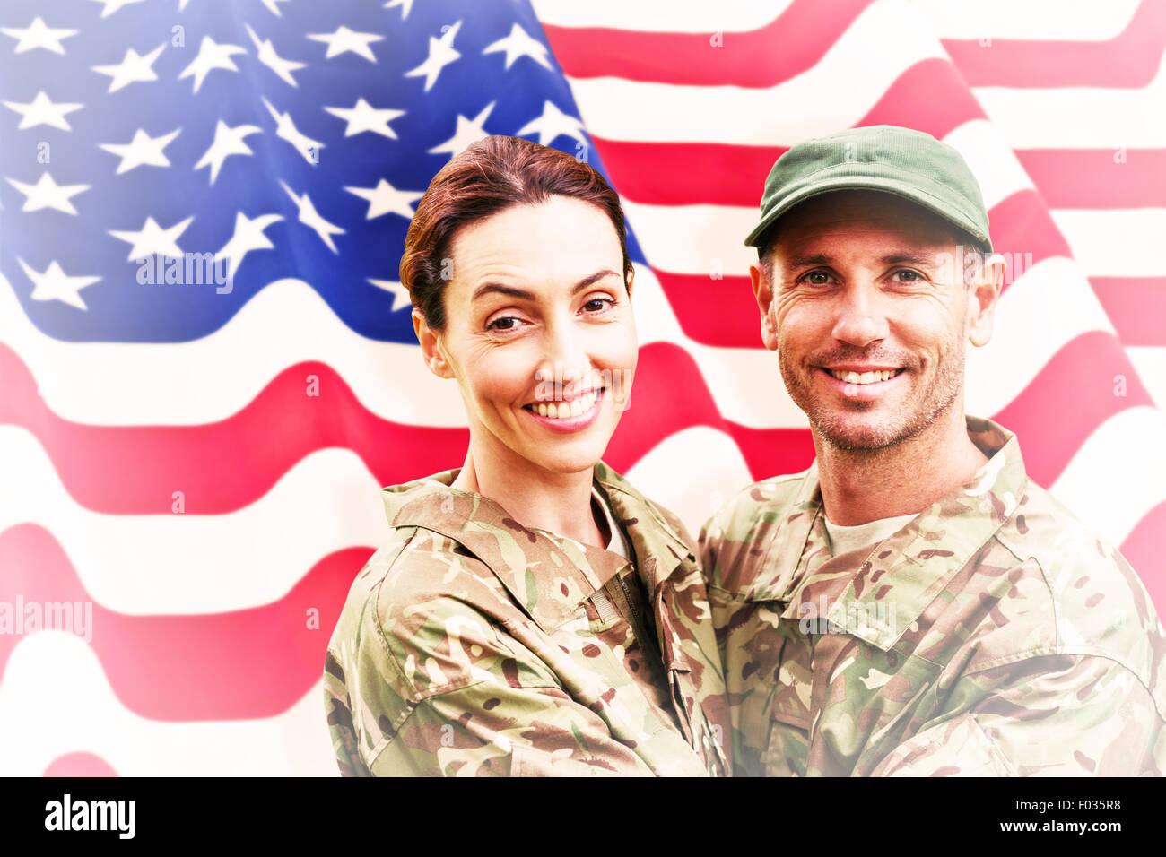 Zusammengesetztes Bild der Armee paar Stockbild
