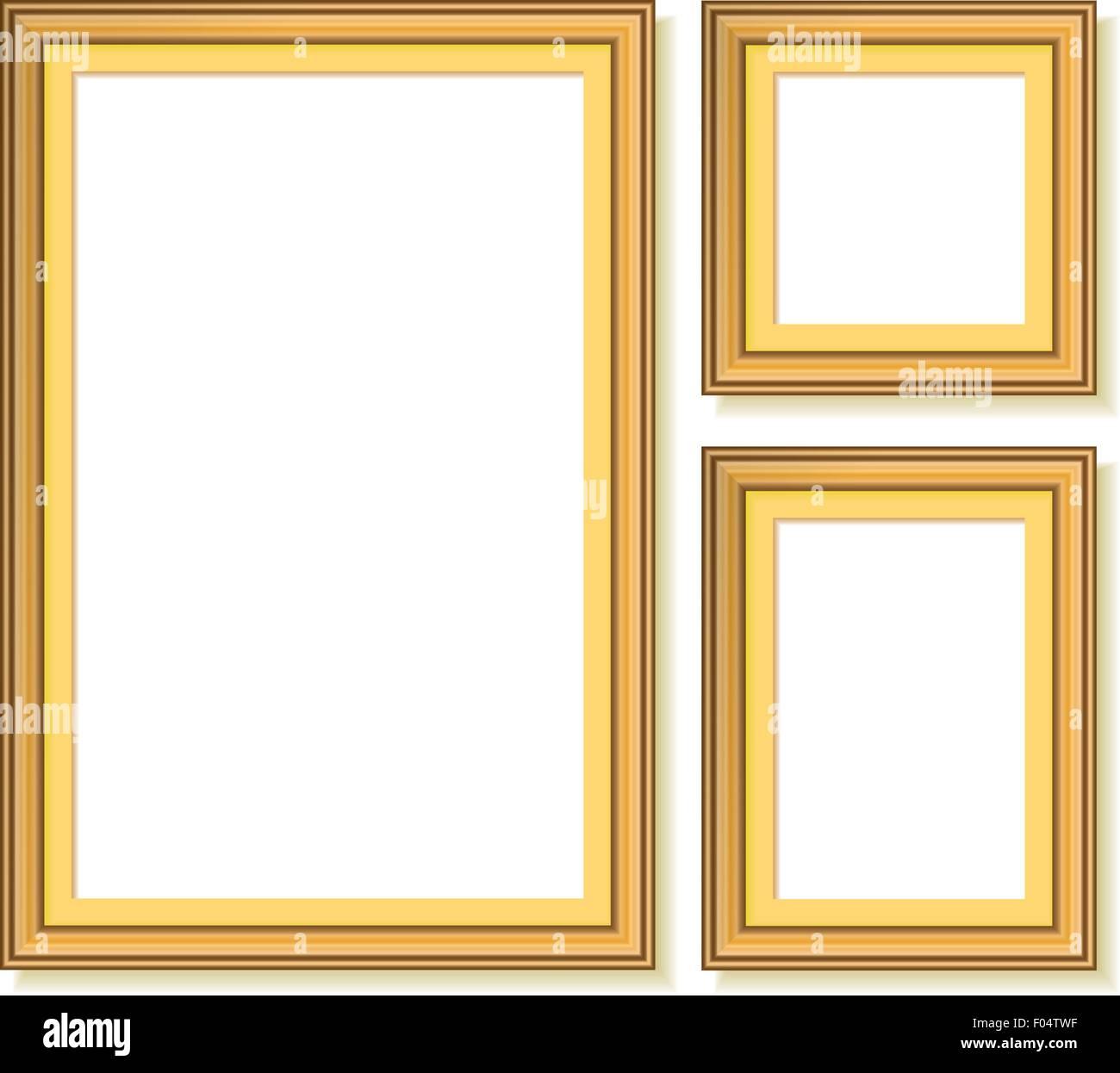 Satz von goldenen Rahmen. Vektor-illustration Vektor Abbildung ...