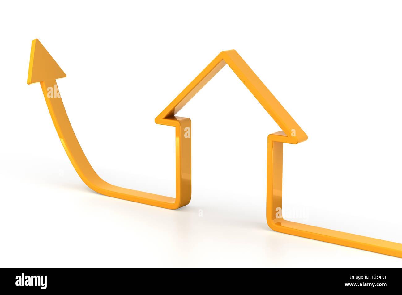 Steigenden Pfeil geformt wie ein Haus Stockbild