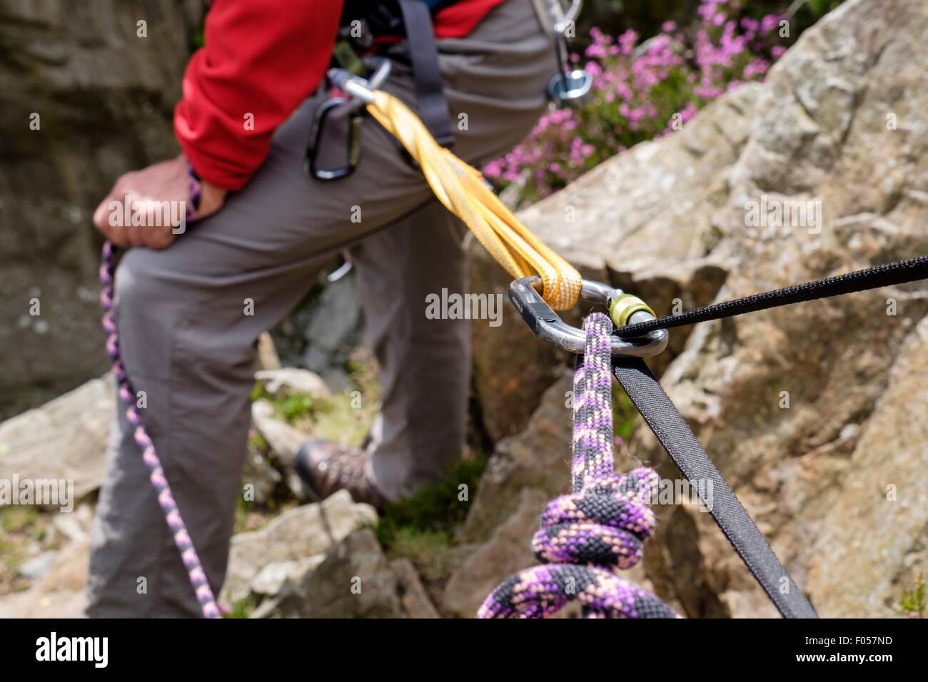 Bergsteiger mit einem Rock Kletterseil in Absicherbare gebunden bei einem Aufstieg mit Klebeband und Karabiner. Stockbild