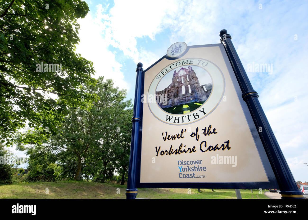 Whitby Verkehrszeichen in Whitby Yorkshire UK Stockfoto