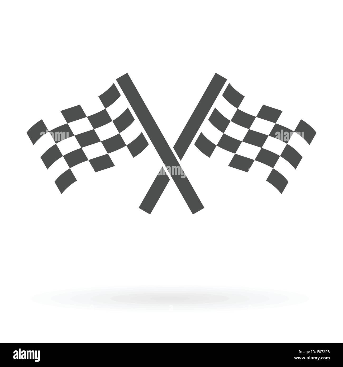 gekreuzte Autosport Finish Flaggen Symbol isoliert Design Vektor-illustration Stockbild