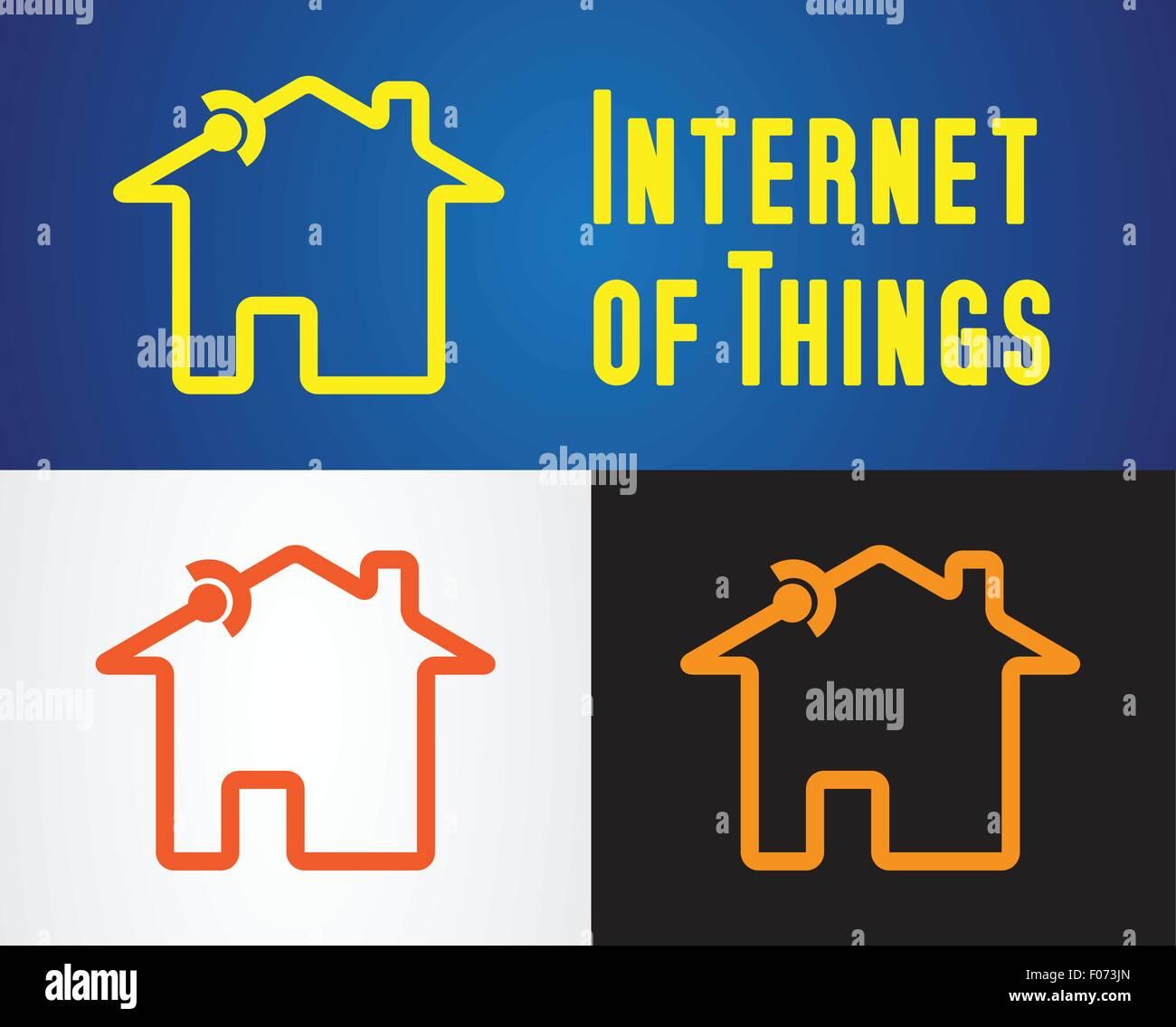 Haus mit Verbindungssymbol als Internet der Dinge-Symbol-Vektor ...