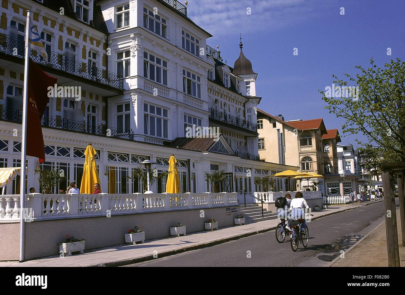 Fassade des Seetel Romantik Seehotel Ahlbecker Hof auf Usedom Promenade, Deutschland Stockbild