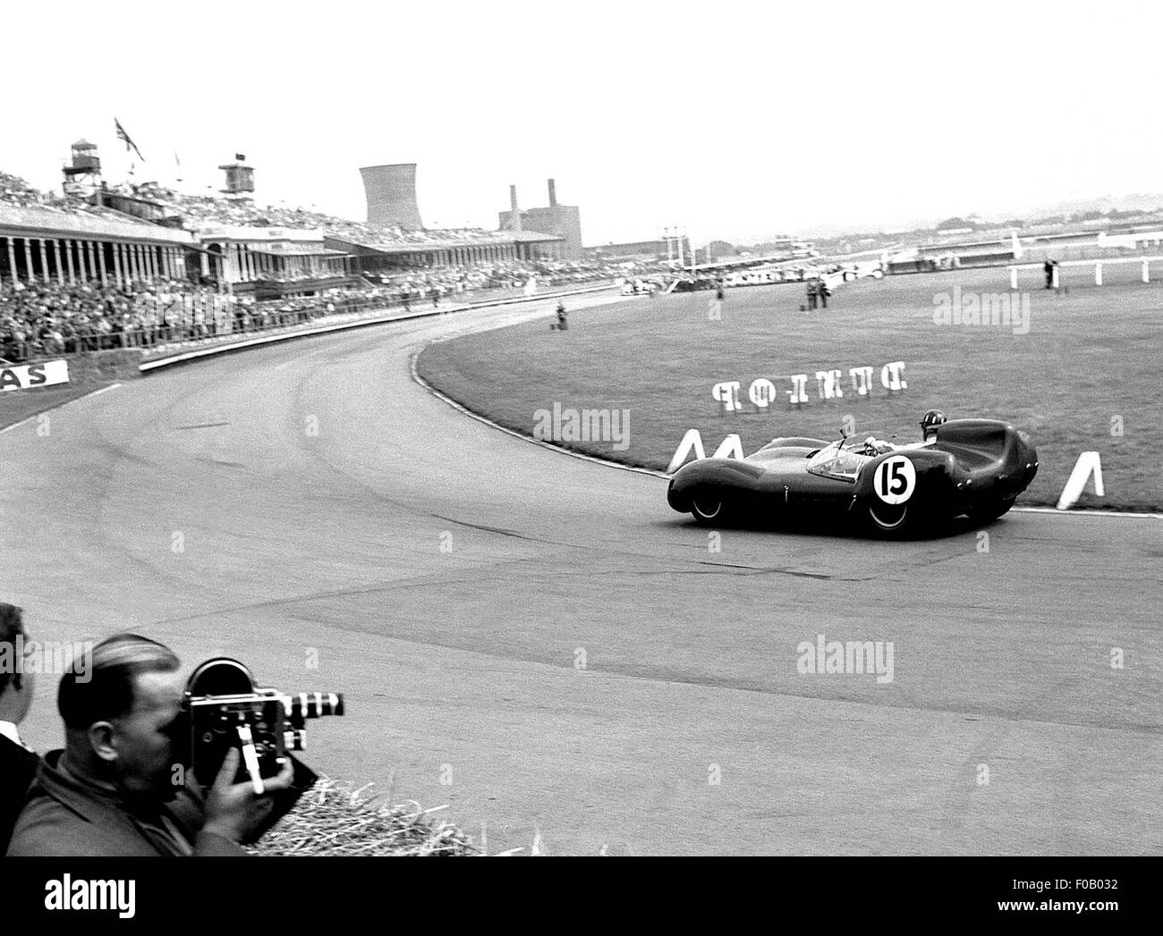 Aintree internationale Sportscar Rennen 18. Juli 1959. Graham Hill Lotus 15 Höhepunkt Rennsieger. Stockbild