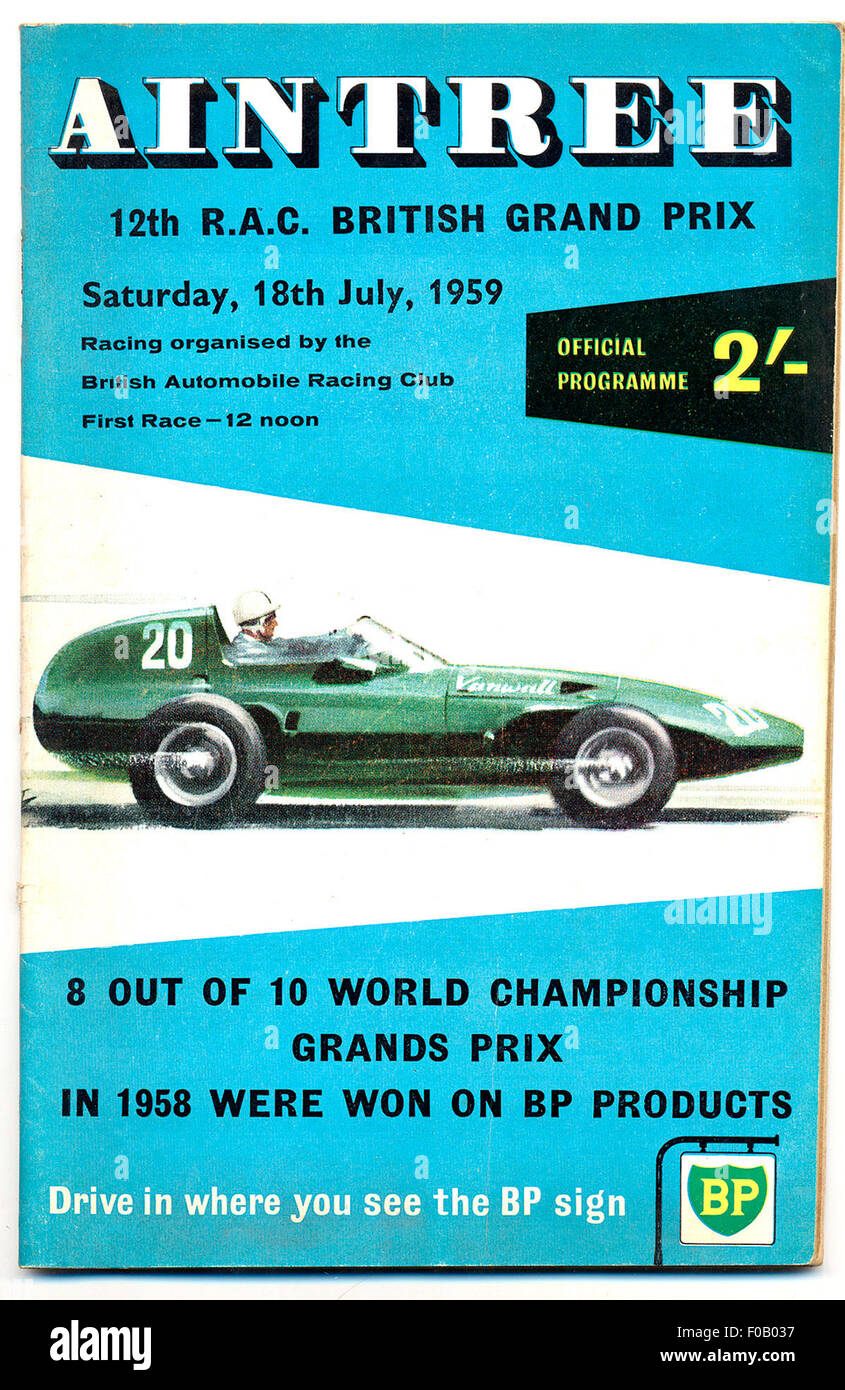 Aintree 1959 britische GP-Programm Stockbild