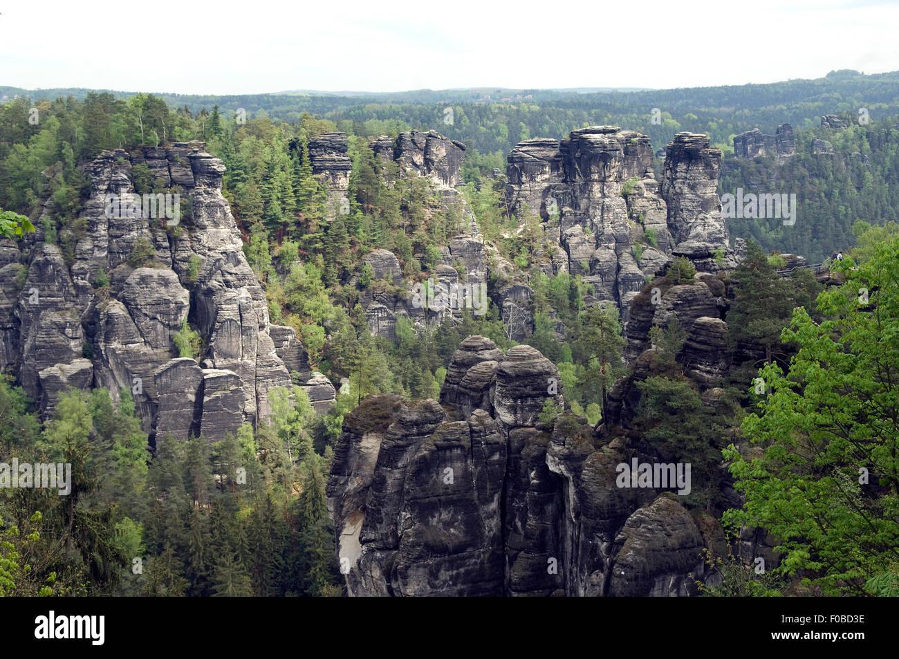 Elbsandsteingebirge, Elbe, Fluss, Sandstein, Stockbild