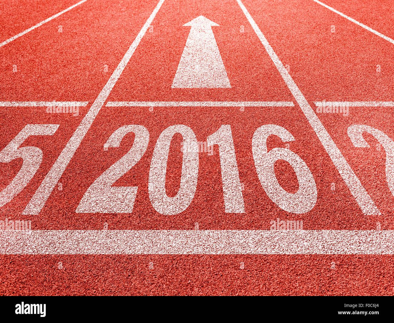 2016-Konzept für Neujahr Perspektive und Erfolg Stockbild