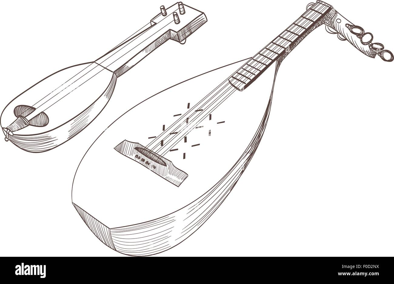 Cobza Stringed Instrumente zeichnen Stockbild