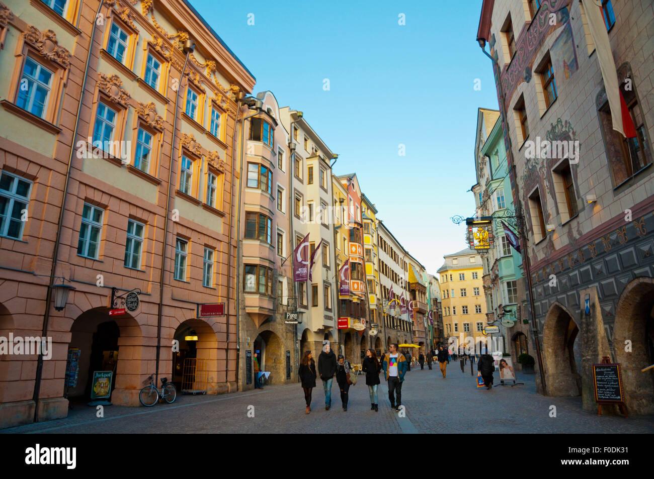 Herzog-Friedrich-Straße, Altstadt, alte Stadt, Innsbruck, Tirol, Österreich Stockbild