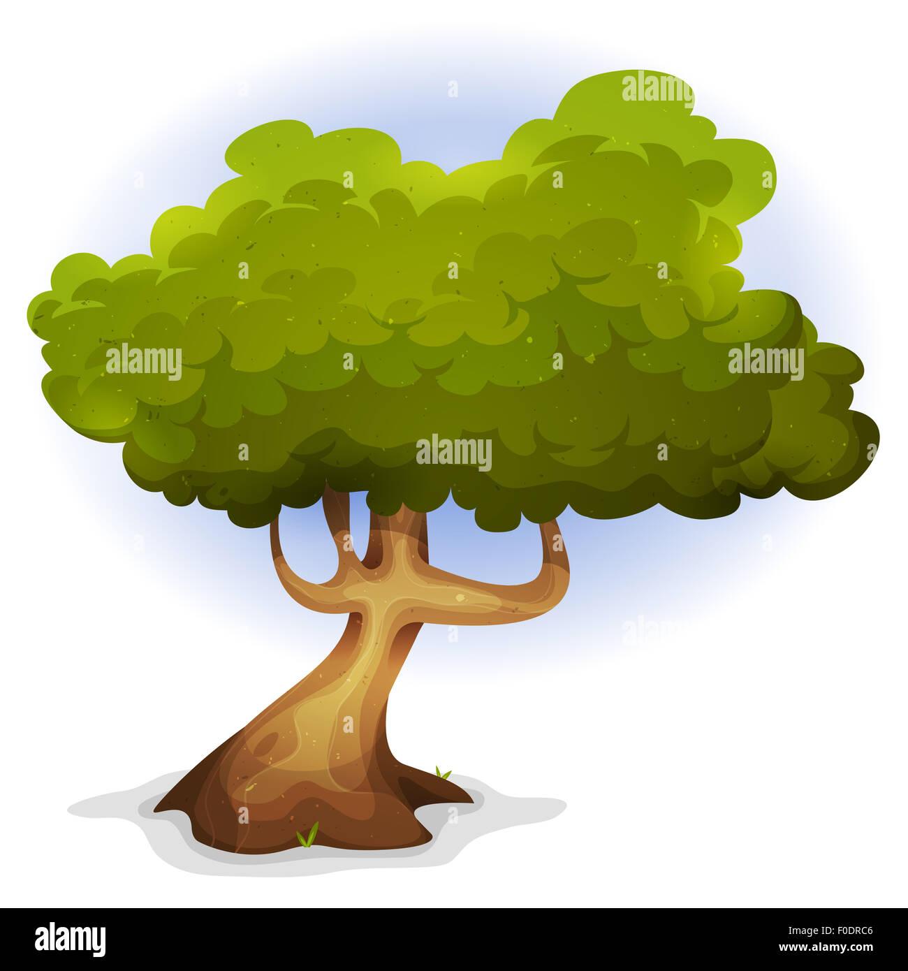 Abbildung Einer Karikatur Lustige Frühling Oder Sommer Märchen Baum
