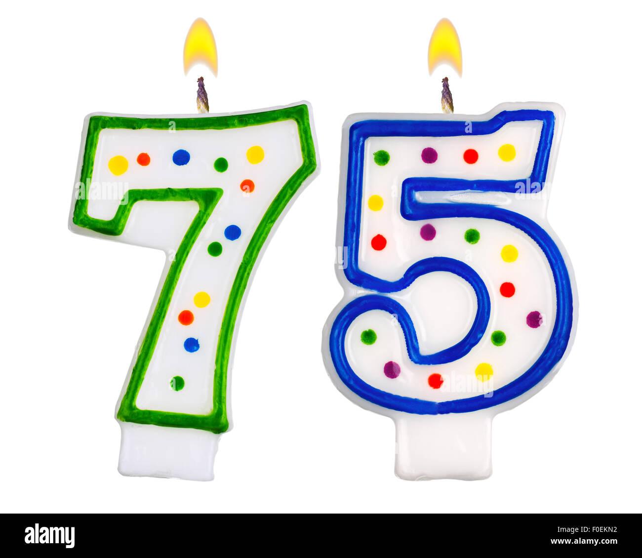 Geburtstagskerzen Nummer 75 Stockbild