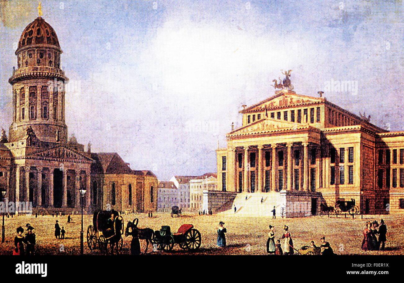 Geographie/Reisen, Deutschland, Berlin, Theater/Theater, Playhouse und Französischen Dom, erbaut von Schinkel Stockbild
