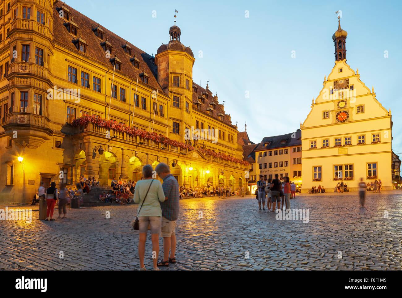 Marktplatz Marktplatz, Rothenburg Ob der Tauber, Franken, Bayern, Deutschland Stockbild