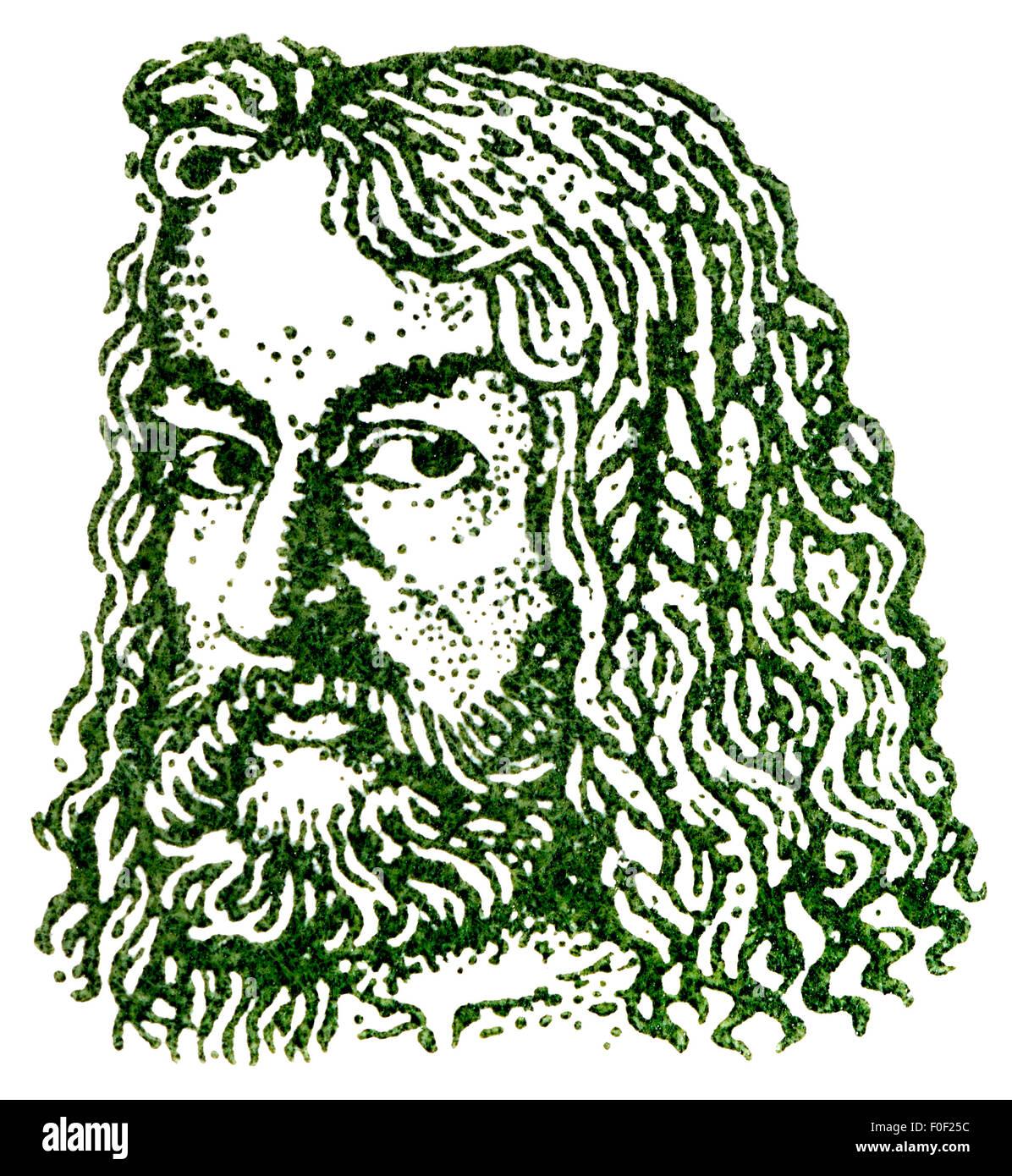 Porträt von Albrecht Dürer (1471-1528: deutscher Künstler und Grafiker) von 1961 Deutsche Briefmarke Stockbild