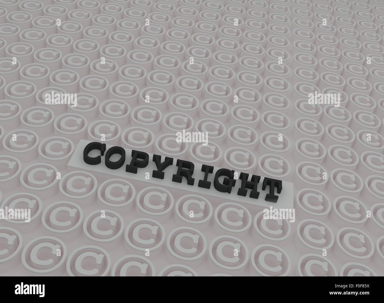 Schwarz 3d copyright text auf der Plattform in 3d Copyright weiße Symbole. Stockfoto