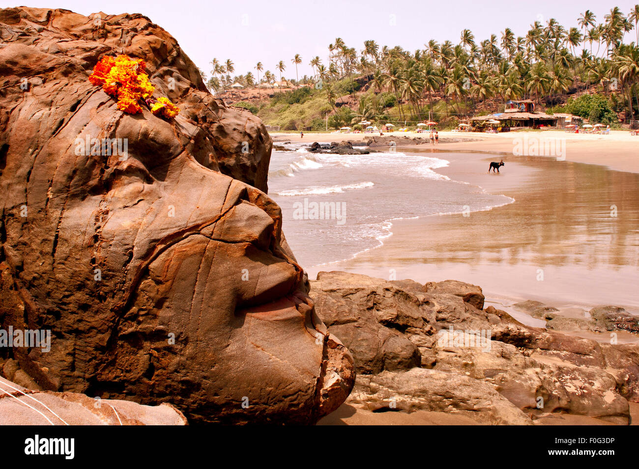 Shiva Felsen in Vagator Beach Goa Indien Stockfoto