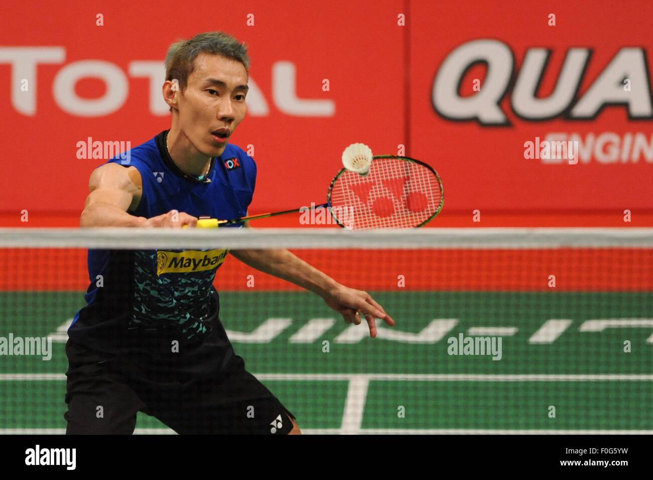 Jakarta, Indonesien. 15. August 2015. Lee Chong Wei von Malaysia kehrt den Federball zu Jan O Jorgensen von Dänemark Stockbild