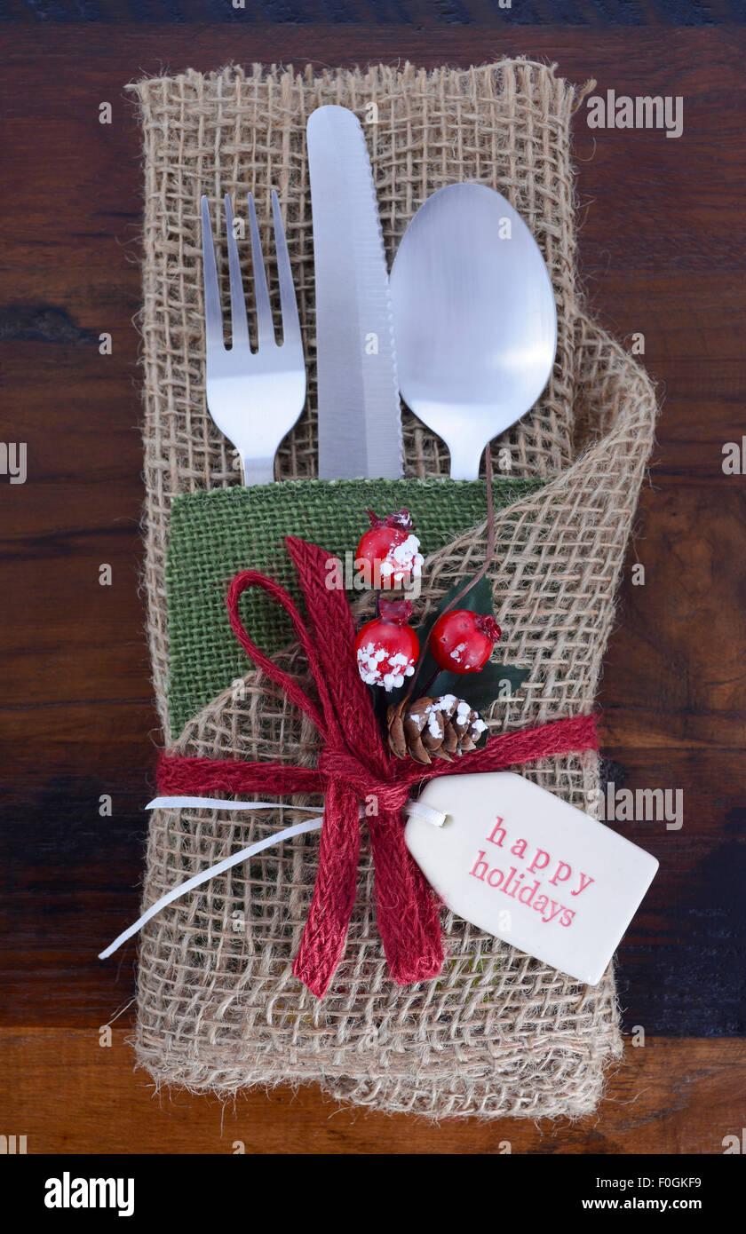 Vintage Stil Weihnachten Tischdekoration Ort Mit Besteck