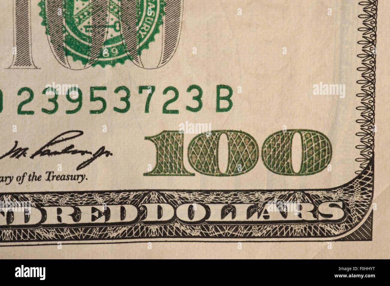 Closeup USA $100 Dollar-Schein Stockbild