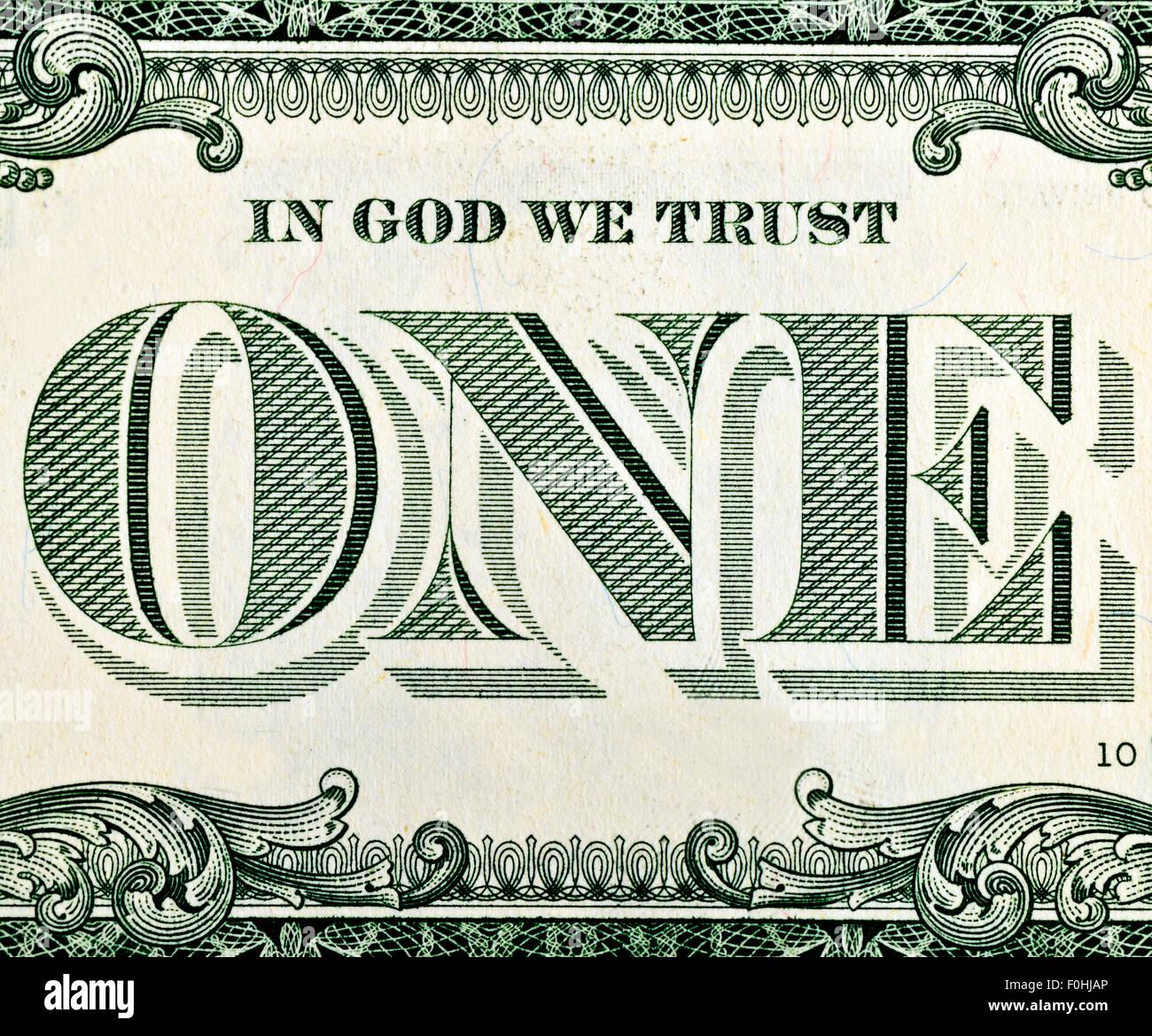 Ein Dollar Bill Fragment Makro Stockbild