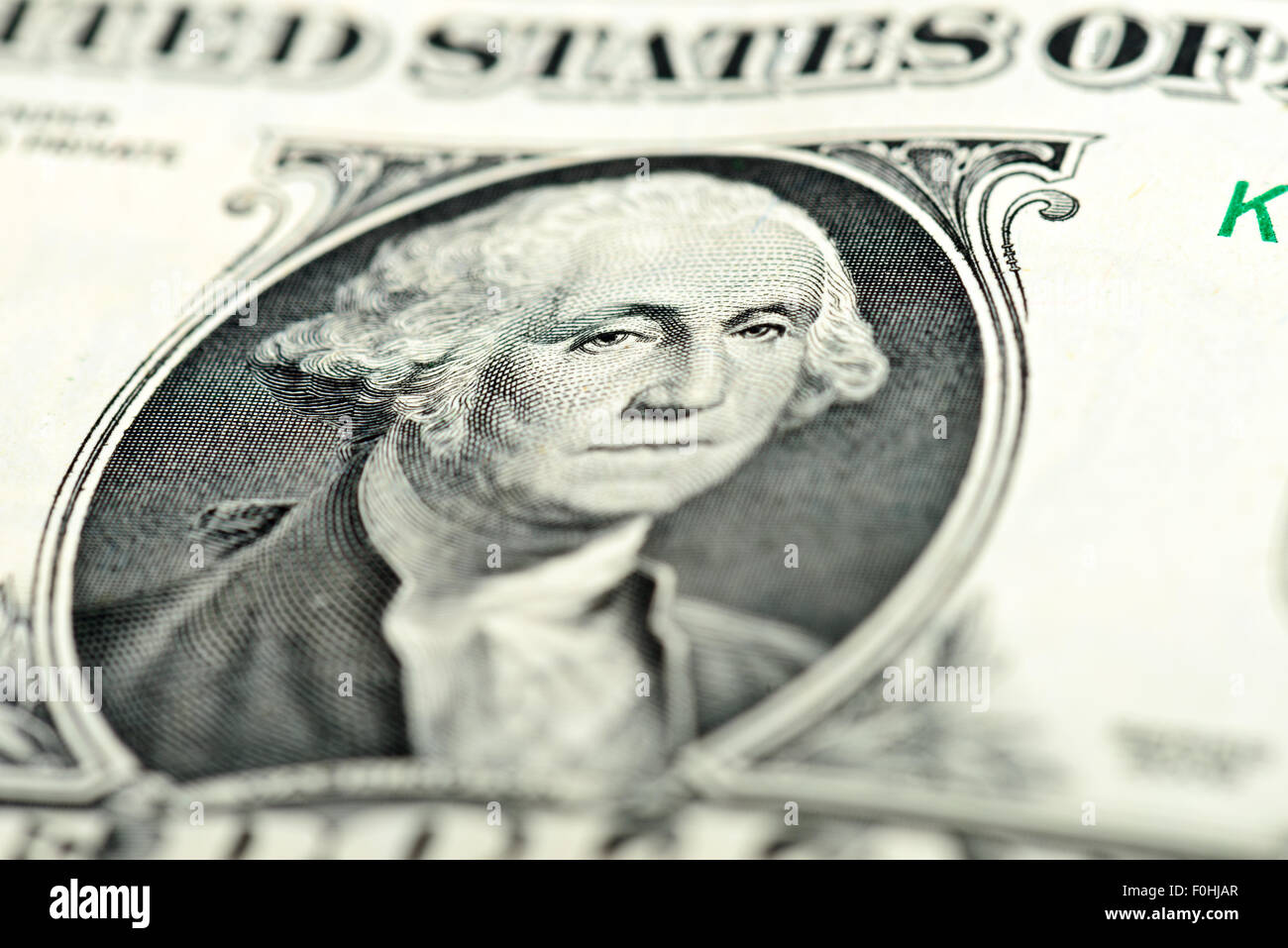 Ein Dollar Bill Fragment Makro Augen Washington Stockbild