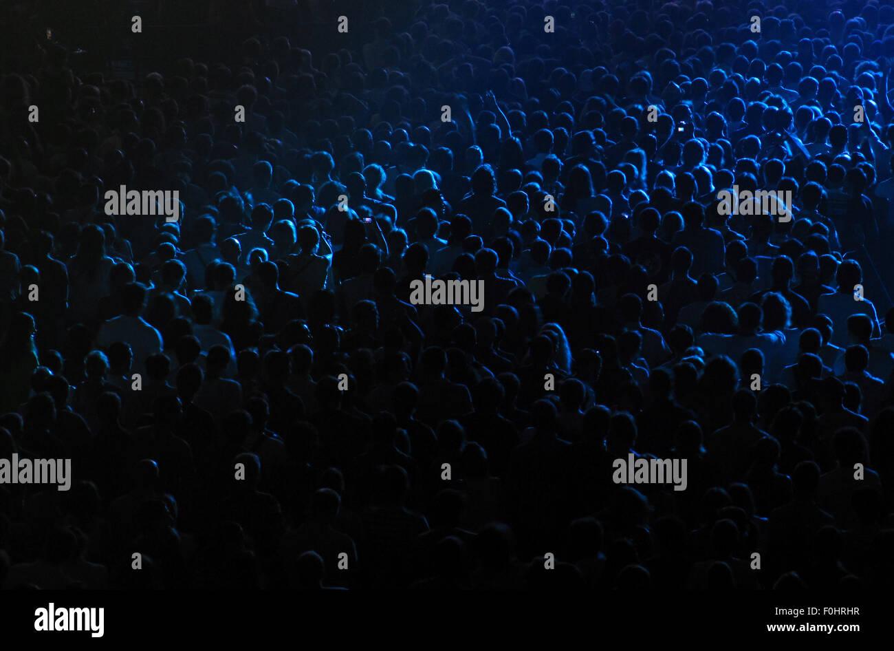 Jubelnde Menge bei der Rock-Konzert im Konzertsaal Stockbild