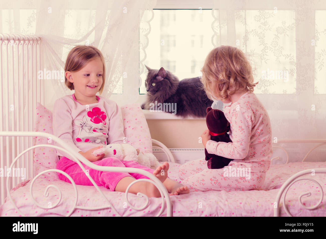 little girl sleeping teddy bear stockfotos little girl. Black Bedroom Furniture Sets. Home Design Ideas