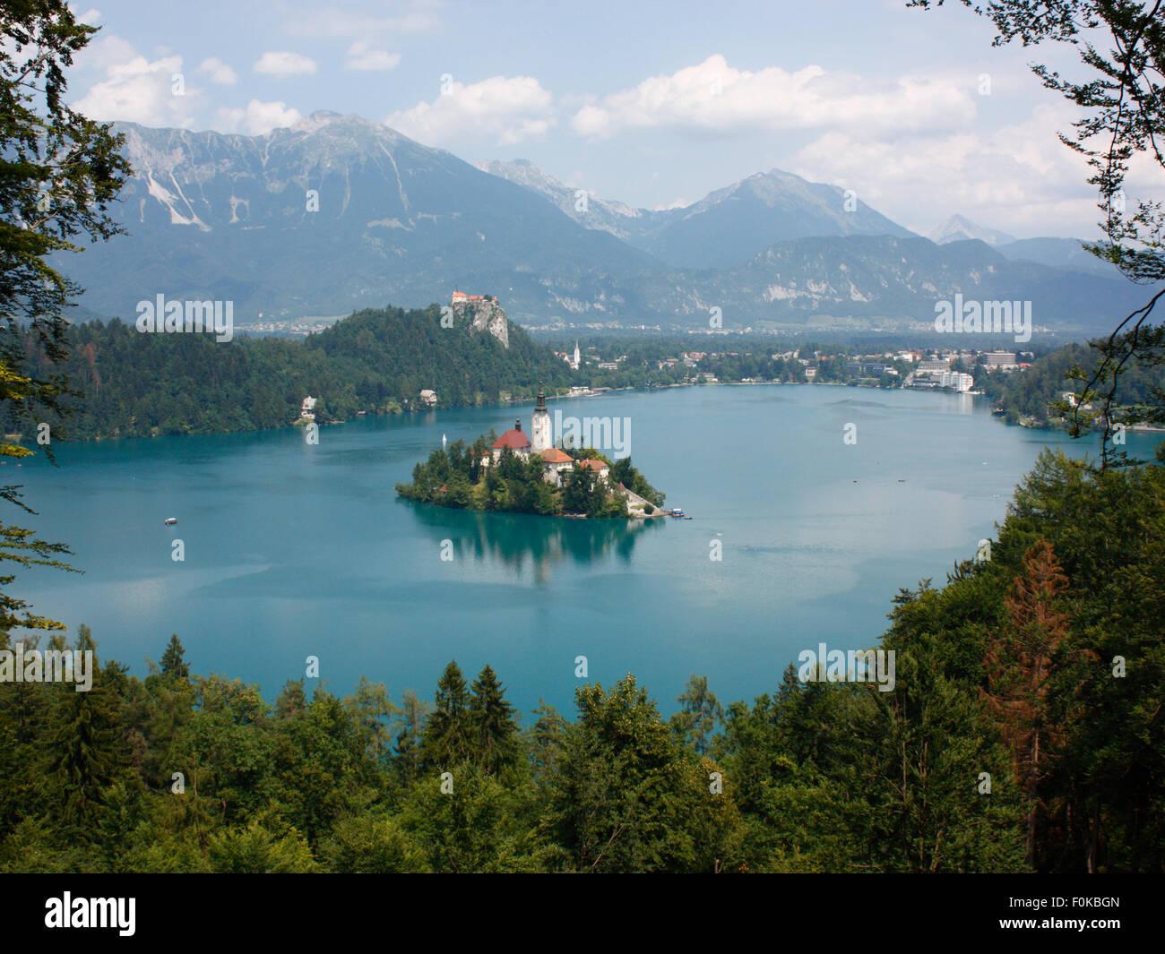 Reisen und Tourismus in Europa. Der See von Bled, Slowenien Stockbild