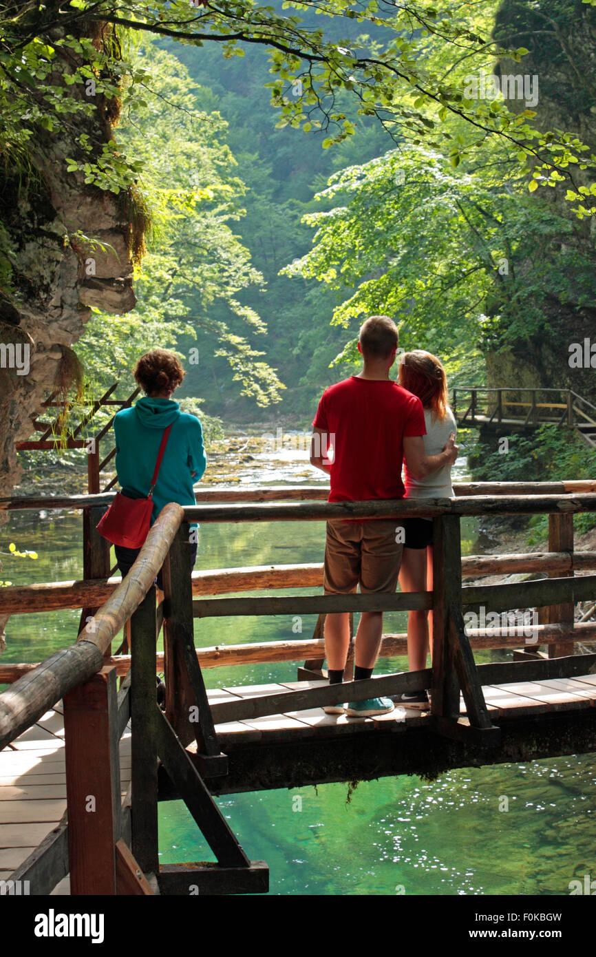 Touristen bewundern die Aussicht auf Schlucht Vintgar, Slowenien. Reisen, Tourismus und Lifestyle in Europa. Stockbild