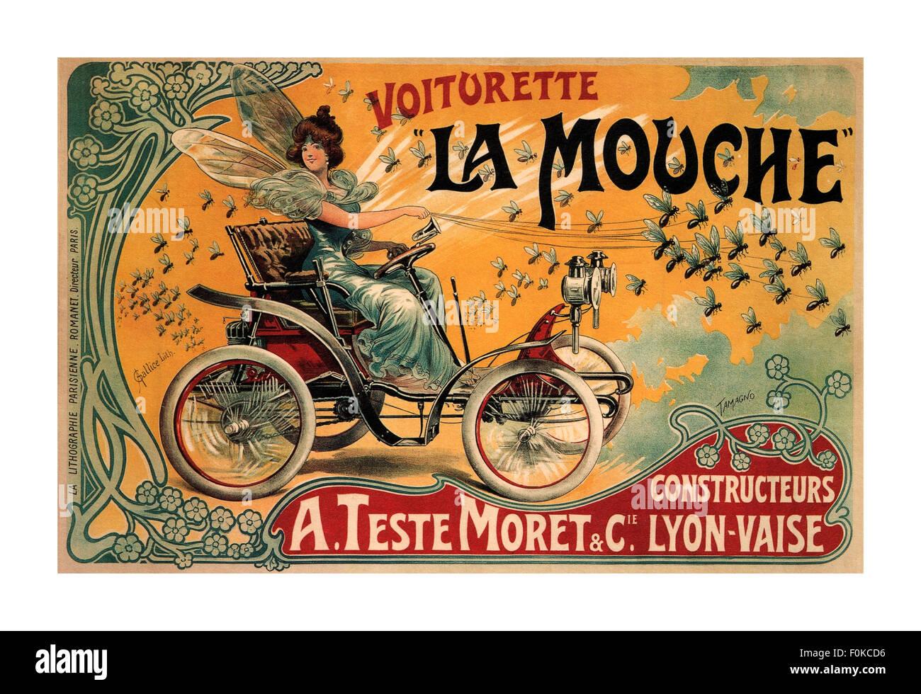 LA MOUCHE VOITURETTE 1900 im Art déco-Stil der französischen Firma, A. Teste Moret & Cie, förderte Stockbild
