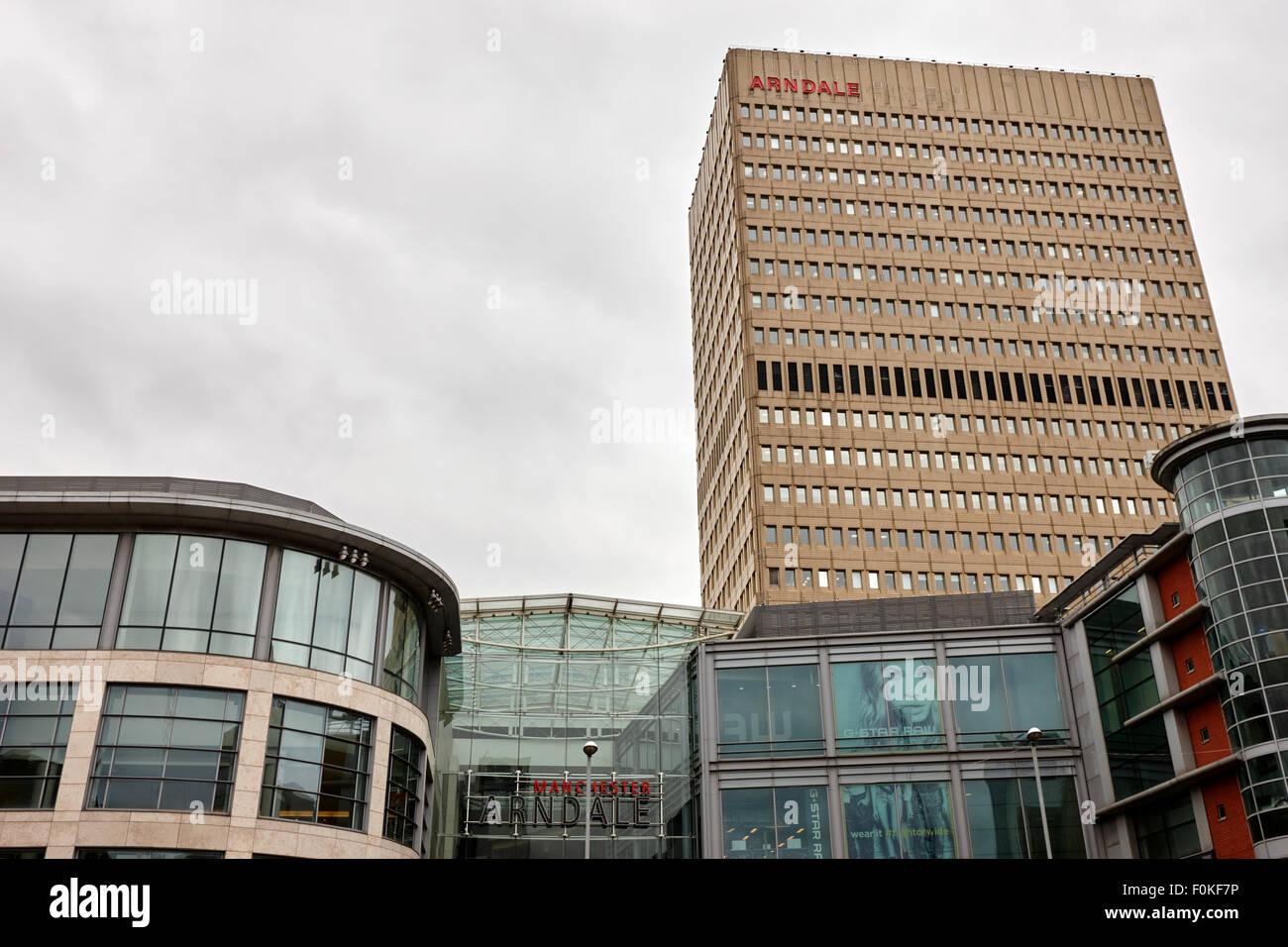 Das Einkaufszentrum Arndale and Office tower Manchester England UK Stockbild