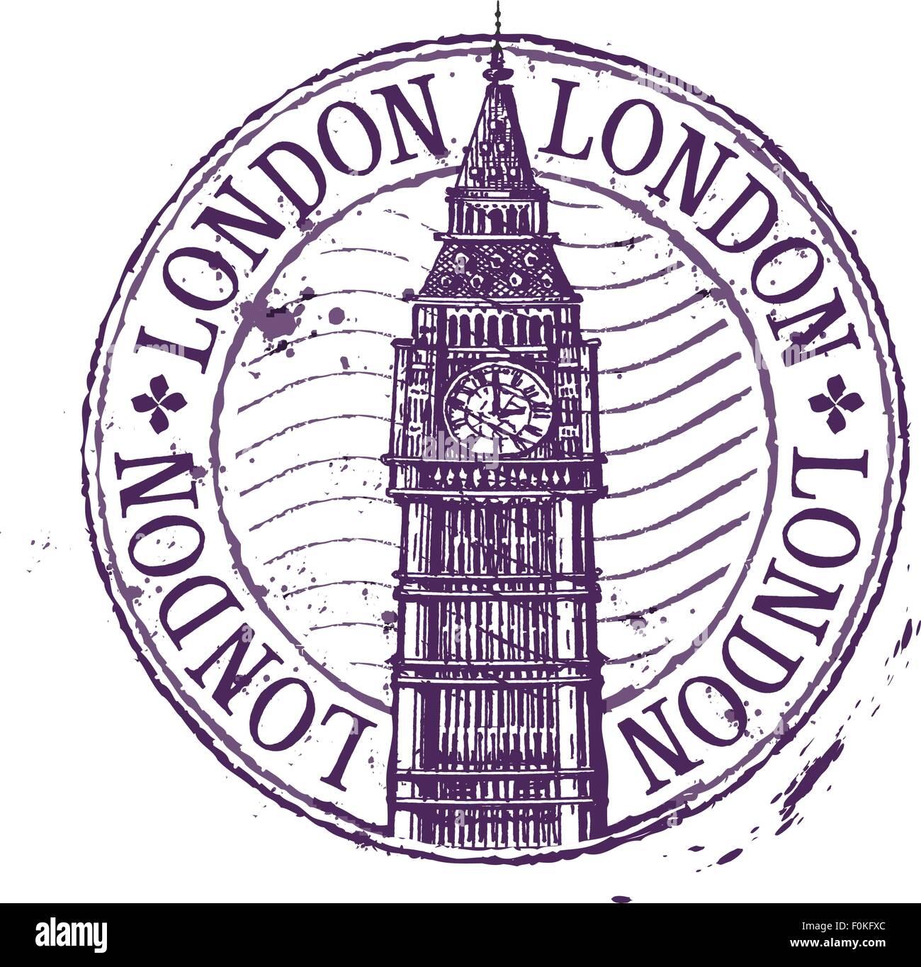 London-Vektor-Logo-Design-Vorlage. Schäbige Stempel oder England ...