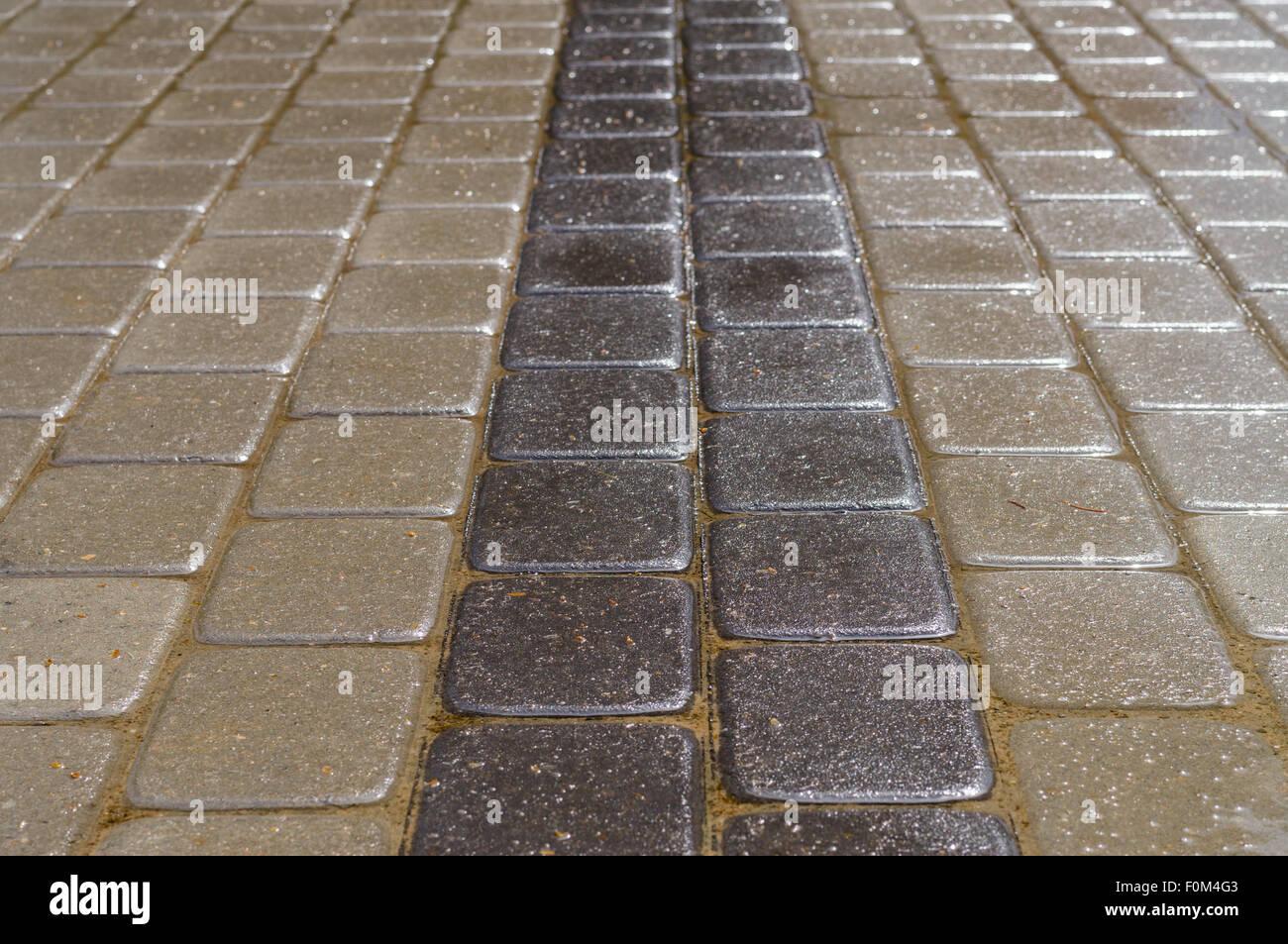 Dekorative Stein Ziegel, Dunkle Und Helle Fliesen Nach Dem Regen