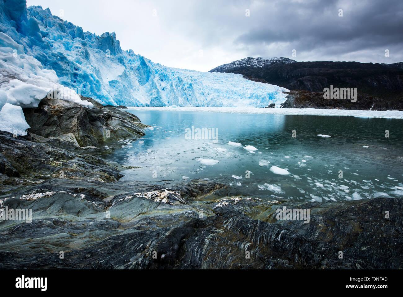 Brujo Gletscher Asien Fjord Patagonien Chile Stockbild
