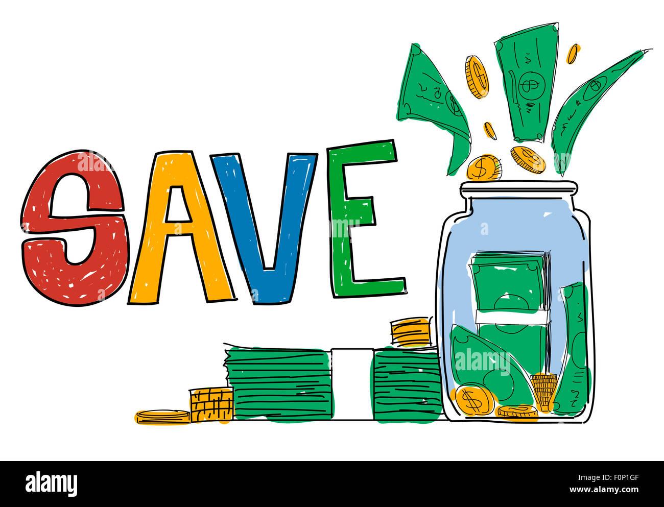 Sparen Sie, sparen Finanzen Geld Anlagekonzept Stockbild