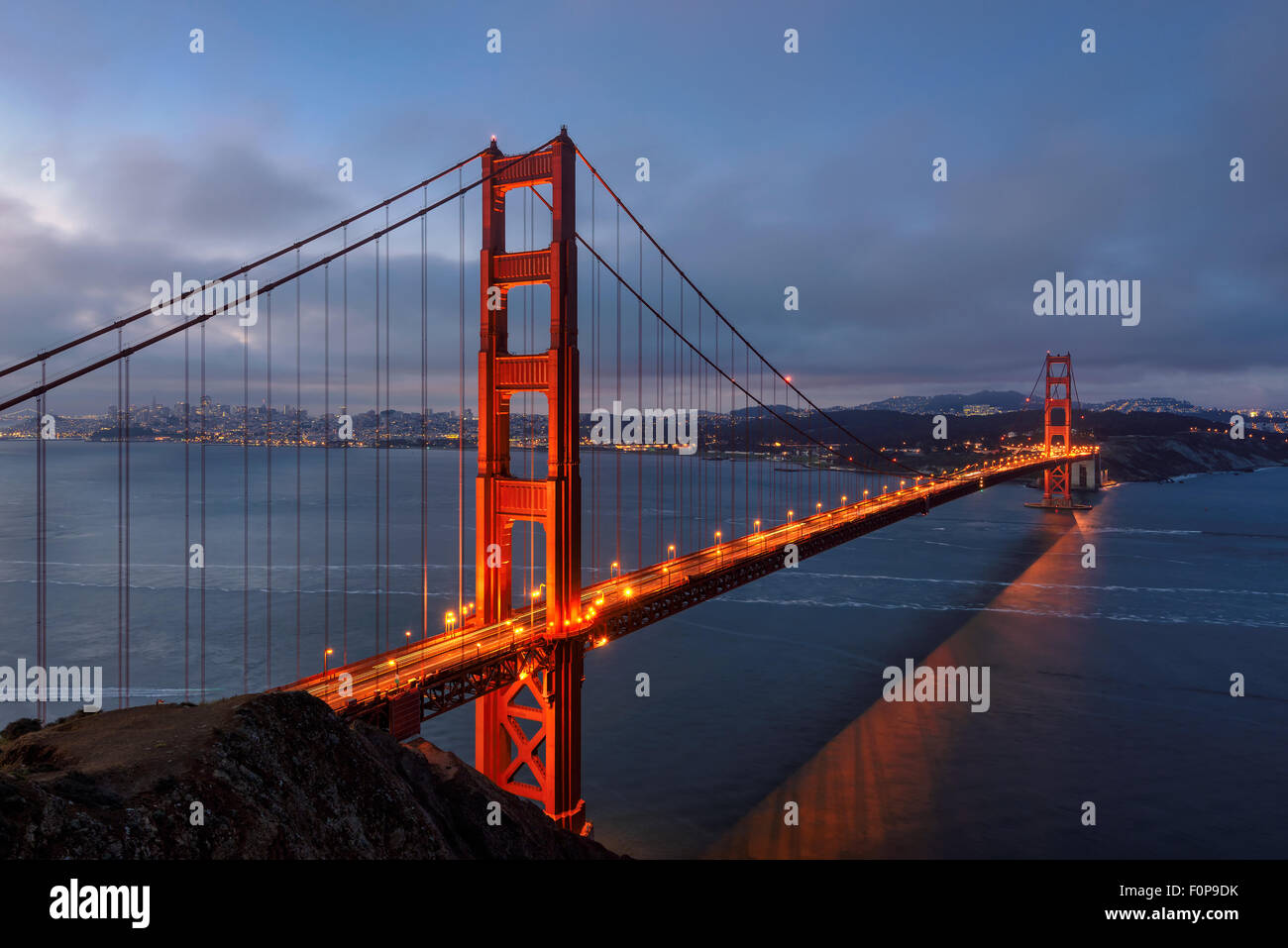 Berühmte Golden Gate Bridge, San Francisco am Morgen, USA Stockbild
